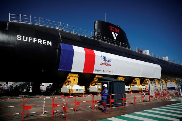 The French Navy vessel called Suffren, first of the nuclear Barracuda class attack submarines, leaves the workshops of its construction at the Naval Group site in Cherbourg, France, July 5, 2019. REUTERS/Benoit Tessier