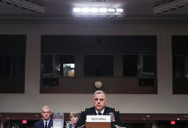 U.S. Army Gen. Mark Milley testifies before a Senate Armed Services Committee hearing on his nomination to be chairman of the Joint Chiefs of Staff on Capitol Hill in Washington, U.S., July 11, 2019. REUTERS/Leah Millis