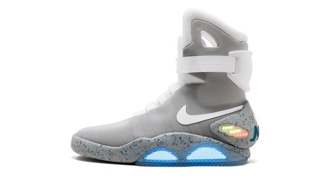"The Nike Mags sneaker, the design worn by Marty McFly character in ""Back to the Future Part II"" film and one of only 1,500 pairs made, is seen in this Sotheby's image released on July 11, 2019.    Courtesy Sotheby's/Handout via REUTERS    ATTENTION EDITORS - THIS IMAGE HAS BEEN SUPPLIED BY A THIRD PARTY. NO RESALES. NO ARCHIVES."