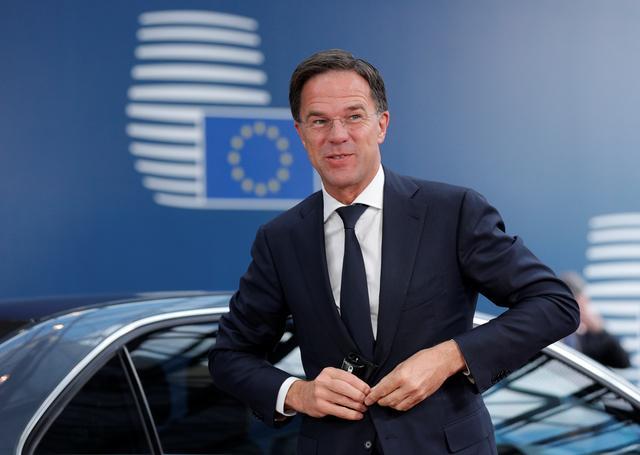 Dutch Prime Minister Mark Rutte arrives to take part in a European Union leaders summit, in Brussels, Belgium July 2, 2019. Geoffroy Van Der Hasselt/Pool via REUTERS
