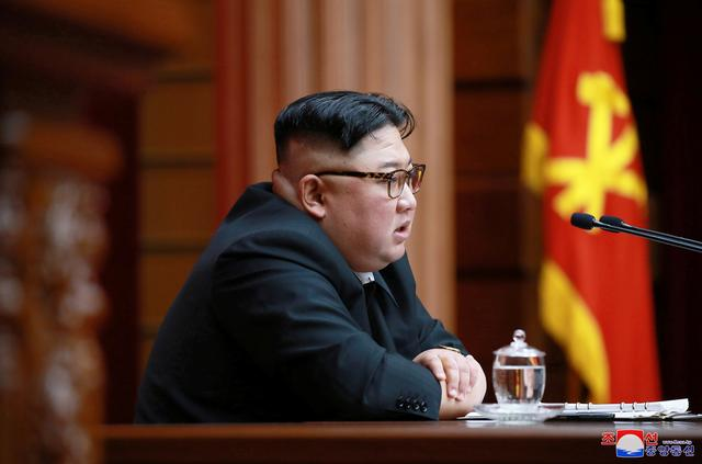 FILE PHOTO: North Korean leader Kim Jong Un speaks during the 4th Plenary Meeting of the 7th Central Committee of the Workers' Party of Korea (WPK) in Pyongyang in this April 10, 2019 photo released on April 11, 2019 by North Korea's Korean Central News Agency (KCNA).    KCNA via REUTERS/File Photo