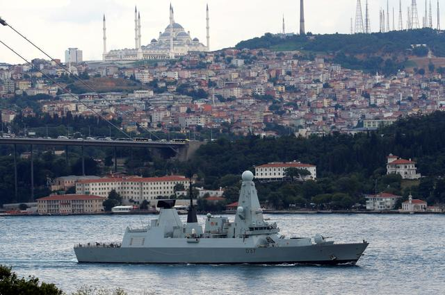 British Royal Navy destroyer HMS Duncan (D37) sails in the Bosphorus, on its way to the Mediterranean Sea, in Istanbul, Turkey, July 12, 2019. REUTERS/Murad Sezer
