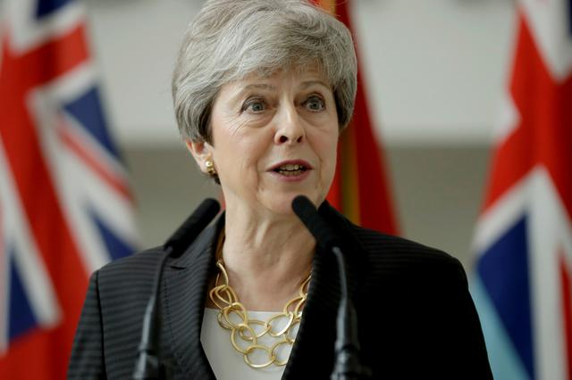 FILE PHOTO :Britain's Prime Minister Theresa May delivers a speech at headquarters of Joint Forces Command in Northwood, London, Britain July 8, 2019. Matt Dunham/Pool via REUTERS