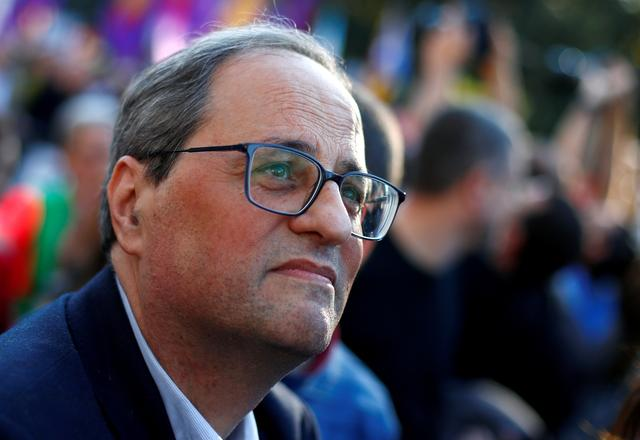 FILE PHOTO: Catalan Regional President Quim Torra is seen ahead of a rally of Catalan separatist organisations, in Madrid, Spain March 16, 2019.  REUTERS/Juan Medina/File Photo