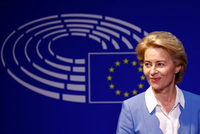 FILE PHOTO: German Defense Minister Ursula von der Leyen, who has been nominated as European Commission President, briefs the media after the Conference of Presidents of European Parliament's party blocs in Brussels, Belgium, July 10, 2019. REUTERS/Francois Lenoir
