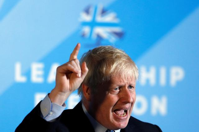 Boris Johnson, a leadership candidate for Britain's Conservative Party, attends a hustings event in Wyboston, Britain July 13, 2019. REUTERS/Peter Nicholls