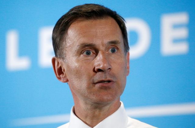 Jeremy Hunt, a leadership candidate for Britain's Conservative Party, attends a hustings event in Maidstone, Britain July 11, 2019. REUTERS/Henry Nicholls