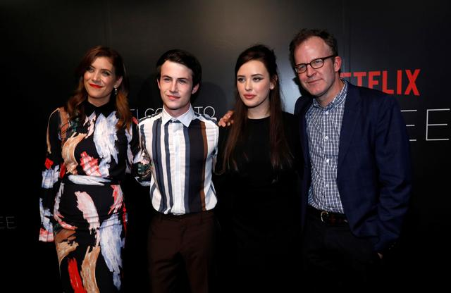 "FILE PHOTO: Director Tom McCarthy (R) poses with cast members Kate Walsh (L), Dylan Minnette and Katherine Langford at a screening for the television series ""13 Reasons Why"" in Beverly Hills, California U.S., June 2, 2017. REUTERS/Mario Anzuoni/File Photo"