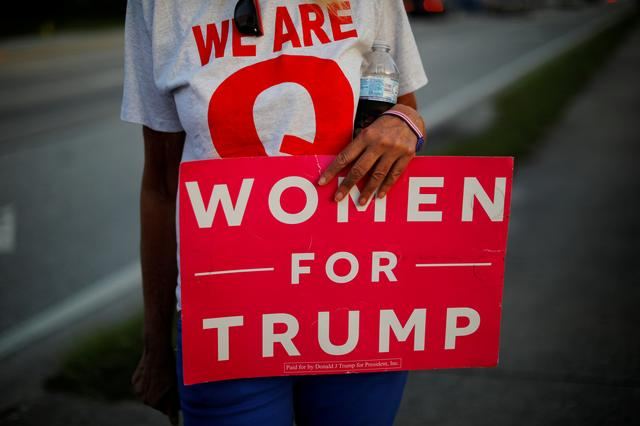 "FILE PHOTO: A supporter of U.S. President Donald Trump holds a sign reading ""Women for Trump"" during a roadside sign waving rally in the Pinellas County city of Clearwater, Florida, U.S., May 15, 2019.  Picture taken May 15, 2019.     REUTERS/Brian Snyder/File Photo"
