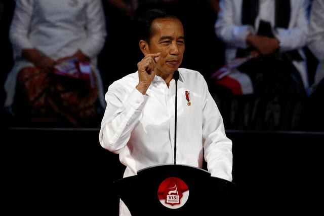 Indonesia's incumbent president Joko Widodo, who was re-elected on April's election gestures as he delivers a speech to highlight his vision for the next five years in Bogor, West Java province, Indonesia, July 14, 2019. REUTERS/Willy Kurniawan