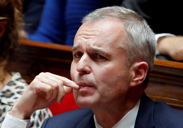 FILE PHOTO: French Minister for Ecology, Sustainable Development and Energy, Francois de Rugy attends the questions to the government session at the National Assembly in Paris, France, September 18, 2018.   REUTERS/Charles Platiau/File Photo