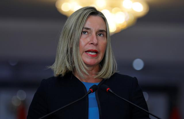 European Union Foreign Policy Chief Federica Mogherini speaks during a news conference with Iraqi Foreign Minister Mohamed Ali Alhakim in Baghdad, Iraq July 13, 2019. REUTERS/Khalid Al-Mousily