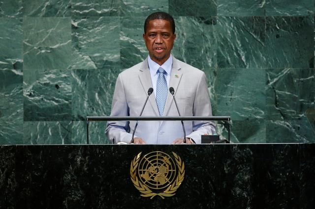 Zambia's President Edgar Chagwa Lungu addresses the 73rd session of the United Nations General Assembly at U.N. headquarters in New York, U.S., September 25, 2018. REUTERS/Eduardo Munoz