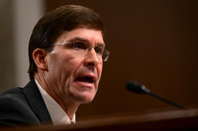 Defense Secretary nominee Mark Esper testifies before a Senate Armed Services Committee hearing on his nomination in Washington, U.S. July 16, 2019. REUTERS/Erin Scott
