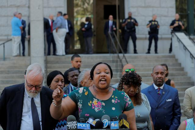 Emerald Garner speaks to the media after a meeting with Justice Department officials about their decision to not prosecute NYPD officer Daniel Pantaleo in New York, U.S., July 16, 2019. REUTERS/Lucas Jackson