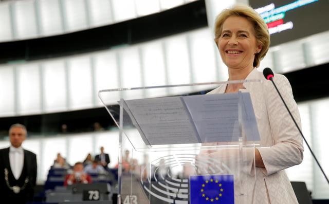 Elected European Commission President Ursula von der Leyen delivers a speech after a vote on her election at the European Parliament in Strasbourg, France, July 16, 2019. REUTERS/Vincent Kessler