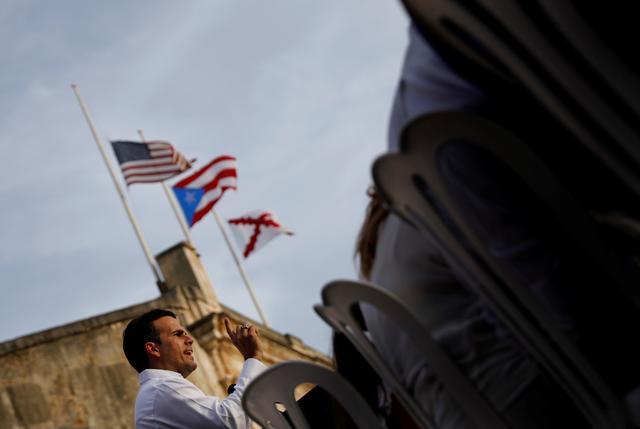 FILE PHOTO: Governor of Puerto Rico Ricardo Rossello delivers remarks during a commemorative event organized by the local government a year after Hurricane Maria devastated Puerto Rico, in San Juan, Puerto Rico September 20, 2018. REUTERS/Carlos Barria/File Photo