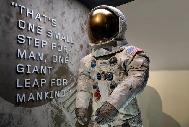 Neil Armstrong's Pressure Suit, A7-L, Apollo 11, that he wore to walk on the moon July 20, 1969 is displayed in its new case at the National Air and Space Museum in Washington, U.S., July 12, 2019.  Smithsonian Air and Space Museum/Jim Preston/Handout via REUTERS.