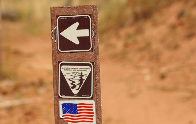 FILE PHOTO: U.S. Department of the Interior Bureau of Land Management trail marker is shown along the Arch Canyon trail in Bears Ears National Monument, New Mexico, U.S., October 27, 2017. REUTERS/Andrew Cullen