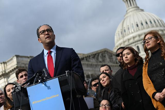 U.S. Rep. Will Hurd (R-TX) speaks at a news conference with Dreamers, immigration rights activists and others in support of a deal that delivers a permanent solution for Dreamers and funds for border security in congressional shutdown negotiations outside the Capitol in Washington, U.S. February 13, 2019. REUTERS/Erin Scott