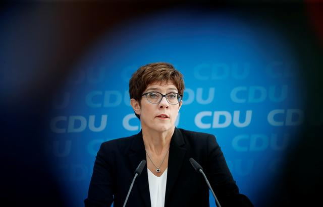 FILE PHOTO: Annegret Kramp-Karrenbauer, Chairwoman of Germany's Christian Democratic Union party (CDU), addresses a news conference at the party headquarters in Berlin, Germany June 3, 2019.   REUTERS/Fabrizio Bensch
