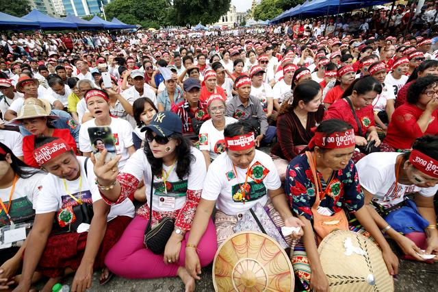 People who support the amending of Myanmar's constitution gather at a rally in Yangon, Myanmar, July 17, 2019. REUTERS/Ann Wang