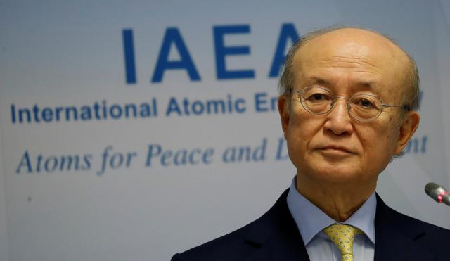 FILE PHOTO: International Atomic Energy Agency (IAEA) Director General Yukiya Amano addresses a news conference during a board of governors meeting at the IAEA headquarters in Vienna, Austria March 4, 2019.   REUTERS/Leonhard Foeger