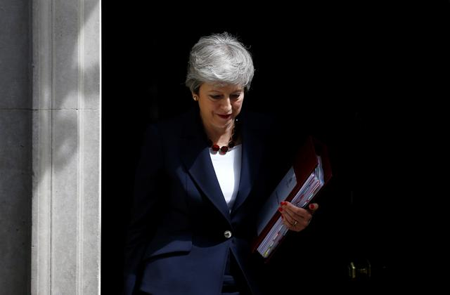 Britain's Prime Minister Theresa May is seen outside Downing Street in London, Britain, July 17, 2019. REUTERS/Henry Nicholls