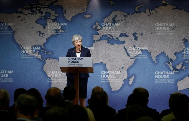 Britain's Prime Minister Theresa May speaks at Chatham House in London, Britain July 17, 2019. REUTERS/Henry Nicholls/Pool