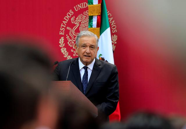 FILE PHOTO: Mexico's President Andres Manuel Lopez Obrador speaks during a meeting with the Mexican delegation competing at the Pan American Games Lima 2019, in Mexico City, Mexico, July 15, 2019. REUTERS/Carlos Jasso