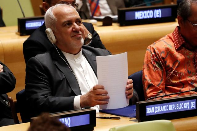 Iranian Foreign Minister Javad Zarif takes take part in a High-Level Political Forum on Sustainable Development at United Nations headquarters in New York, U.S., July 17, 2019. REUTERS/Mike Segar