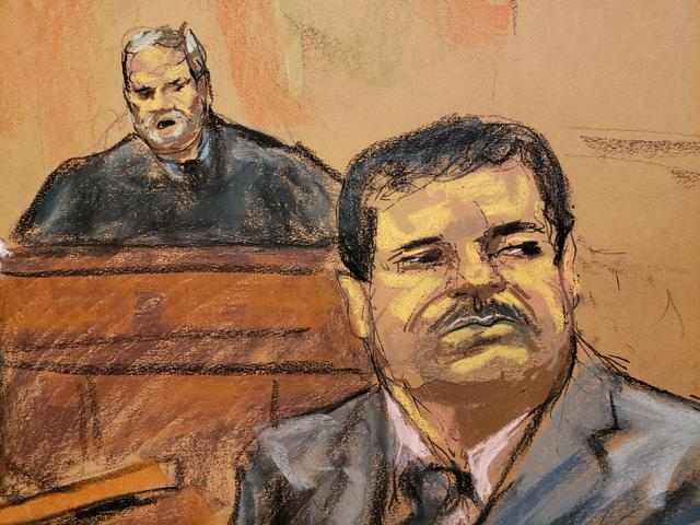 "Joaquin ""El Chapo"" Guzman listens to court proceedings as U.S. District Judge Brian Cogan (L) looks on in this court sketch during a sentencing hearing for Guzman in New York City, U.S. July 17, 2019.  REUTERS/Jane Rosenberg         NO RESALES. NO ARCHIVES."