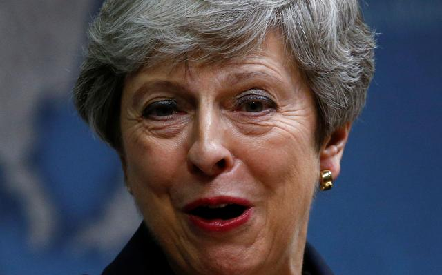 Britain's Prime Minister Theresa May delivers a speech at Chatham House in London, Britain July 17, 2019. REUTERS/Henry Nicholls/Pool
