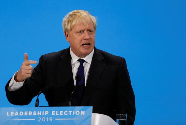 Boris Johnson, a leadership candidate for Britain's Conservative Party, gestures during a hustings event in London, Britain July 17, 2019. REUTERS/Peter Nicholls