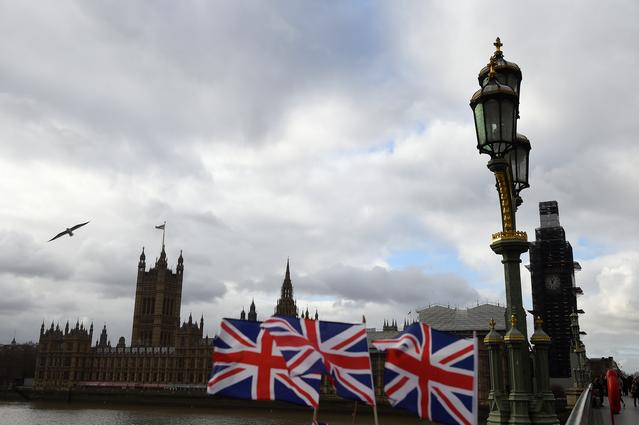 Union Jack flags are seen for sale outside the Houses of Parliament in London, Britain, January 14, 2019. REUTERS/Clodagh Kilcoyne
