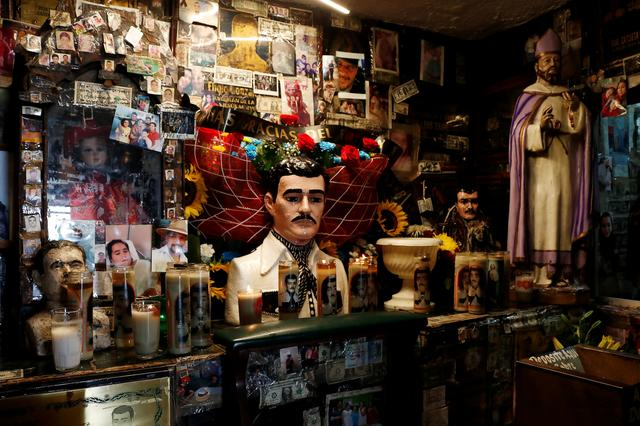 """A view of the """"Saint Jesus Malverde"""" chapel in Culiacan, in Mexico's state of Sinaloa, Mexico July 17, 2019. REUTERS/Jesus Bustamante"""