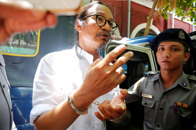 Filmmaker Min Htin Ko Ko Gyi talks to media at Insein court in Yangon, Myanmar July 18, 2019.  REUTERS/Myat Thu Kyaw