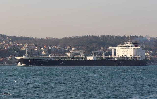 FILE PHOTO: Oil tanker British Heritage sails in the Bosphorus, on its way to the Black Sea, in Istanbul, Turkey, March 1, 2019.  REUTERS/Cengiz Tokgoz/File Photo