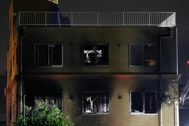 Kyoto Animation building which was torched by arson attack is seen in Kyoto, Japan, July 18, 2019.  REUTERS/Kim Kyung-Hoon