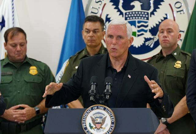 FILE PHOTO: U.S. Vice President Mike Pence speaks during the press conference at the McAllen Border Patrol station in McAllen, Texas, U.S. July 12, 2019.  REUTERS/Veronica G. Cardenas