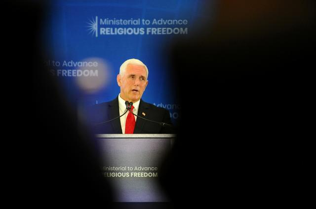 Vice President Mike Pence delivers remarks to the second Ministerial to Advance Religious Freedom at the State Department in Washington, U.S., July 18, 2019.     REUTERS/Mary F. Calvert