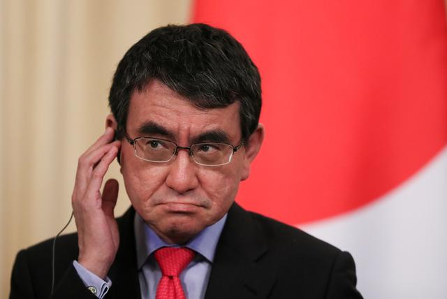 FILE PHOTO: Japanese Foreign Minister Taro Kono gestures as he attends a news conference after a meeting with his Russian counterpart Sergei Lavrov in Moscow, Russia May 10, 2019. REUTERS/Evgenia Novozhenina/File Photo