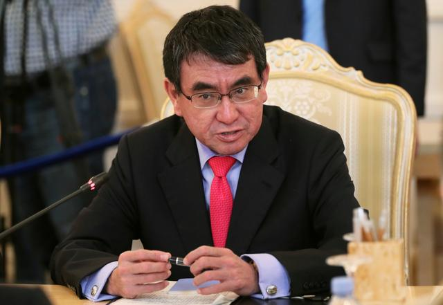 FILE PHOTO: Japanese Foreign Minister Taro Kono attends a meeting with his Russian counterpart Sergei Lavrov in Moscow, Russia May 10, 2019. REUTERS/Evgenia Novozhenina/File Photo