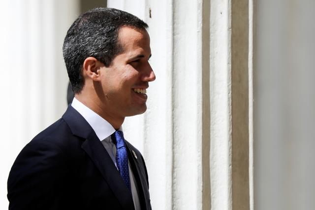 Venezuelan opposition leader Juan Guaido, who many nations have recognised as the country's rightful interim ruler, arrives at Venezuelan National Assembly building before a session in Caracas, Venezuela July 16, 2019. REUTERS/Manaure Quintero