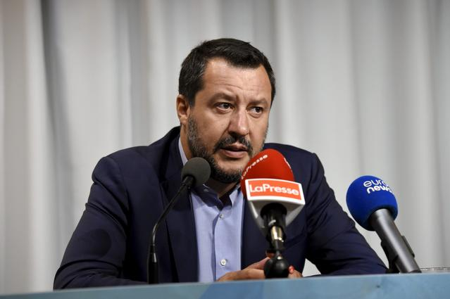 FILE PHOTO: Italy's Interior Minister and Deputy Prime Minister Matteo Salvini holds a news conference in Helsinki, Finland, July 18, 2019.   Lehtikuva/Emmi Korhonen via REUTERS