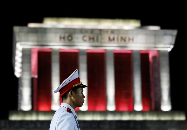 A Vietnamese military soldier stands guard in front of Ho Chi Minh mausoleum in Hanoi, Vietnam July 19, 2019. REUTERS/Kham