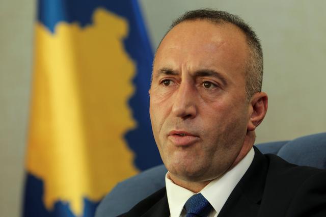 FILE PHOTO: Kosovo's Prime Minister Ramush Haradinaj talks during an interview withe Reuters in Pristina, Kosovo, October 16, 2017. REUTERS/Hazir reka