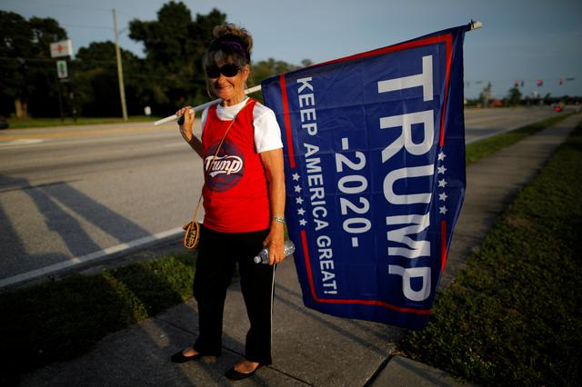 FILE PHOTO: Robin Mayo holds a Trump flag during a roadside sign waving rally with supporters of U.S. President Donald Trump in the Pinellas County city of Clearwater, Florida, U.S., May 15, 2019. REUTERS/Brian Snyder/File Photo