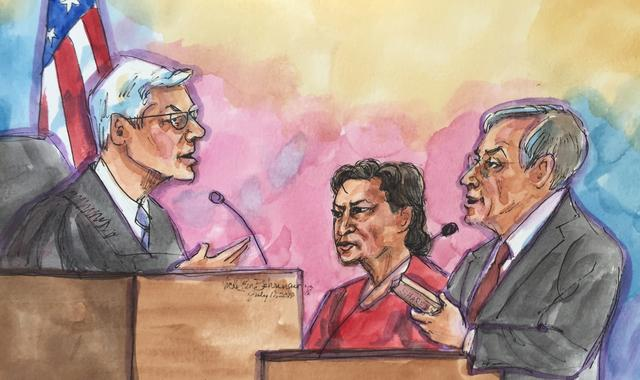 Former Peruvian President Alejandro Toledo, who faces extradition from the United States as part of a corruption investigation, stands before U.S. Magistrate Judge Thomas Hixson (L) with his defense attorney Joseph Russoniello during a hearing in San Francisco, as portrayed in this courtroom sketch, California, U.S., July 19, 2019.  REUTERS/Vicki Behringer