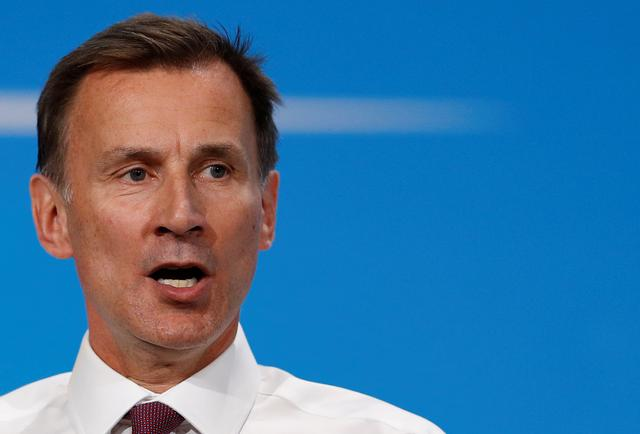 FILE PHOTO: Jeremy Hunt, a leadership candidate for Britain's Conservative Party, speaks during a hustings event in London, Britain July 17, 2019. REUTERS/Peter Nicholls
